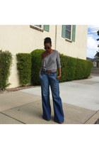 blue wide leg Hudson jeans - black retro zeroUV sunglasses
