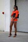 Carrot-orange-dkny-blazer-light-blue-reiss-shorts-tawny-steve-madden-heels