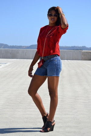 ruby red leather Gabbag purse - blue denim shorts 7 for all mankind shorts