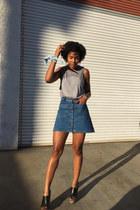 blue Zara skirt - silver cotton on shirt - Carlos wedges