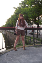 thailand shorts - new look boots - thailand hair accessory - H&M blouse