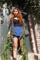 H&M cardigan - sac danvers boots - Lavand bag - thailand shorts - H&M top