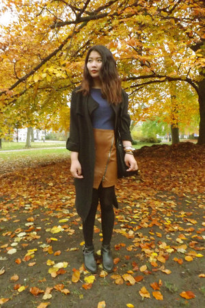 H&M skirt - Zara skirt - Pimkie coat - hand me down jumper