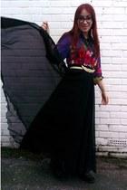 black vintage maxi Ebay skirt - purple floral Thom Brown shirt