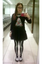 black skeleton Ebay tights - sky blue floral Primark shirt