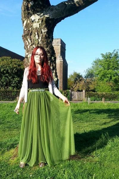 olive green maxi OASAP skirt - black maxi H&M dress