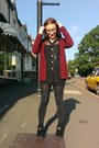 Black-sheer-gold-spot-vintage-shirt-ruby-red-cable-knit-primark-cardigan