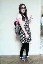black Primark dress - silver jelly JuJu Footwear shoes - hot pink Primark bag