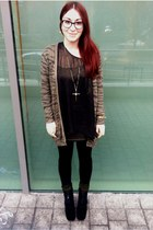 gold crucifix Topshop necklace - black platform zip up Office wedges