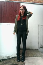 black disco Primark pants - army green elbow patch H&M cardigan
