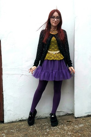 black creeper Ebay shoes - purple tutu M&S Kids skirt - gold wings vintage belt