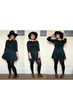 forest green Beyond Retro dress - navy felt floppy vintage hat