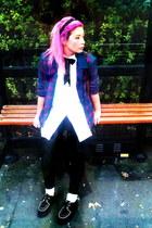 white vintage shirt - black creepers Underground shoes - teal vintage jacket