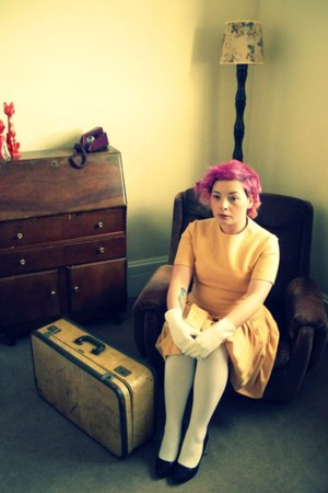 white white American Apparel tights - light yellow wool sixties vintage dress
