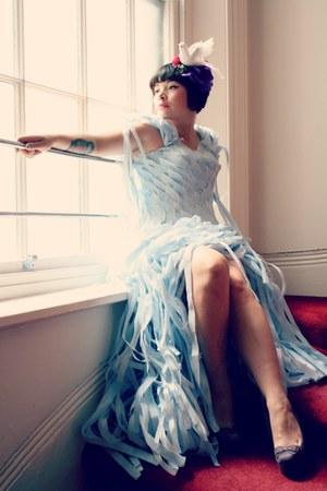 light blue 100 eco couture Dumpster Design dress - purple wedges new look shoes