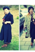 black pleated vintage skirt - Peltinvain coat - Topshop hat