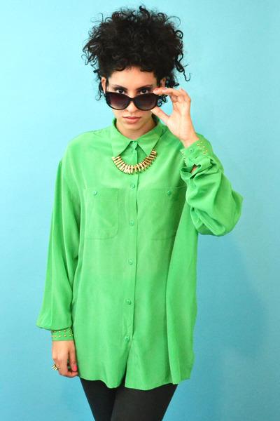 lime green silk Vintage Liz Claiborne blouse - Vintage Inspired necklace