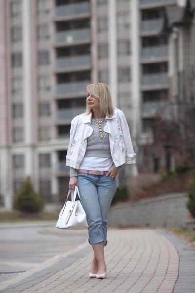 white Pinkstix bag - cropped jeans garage jeans - winners jacket