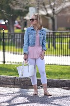 jean jacket Old Navy jacket - white Talula leggings - tote bag Pinkstix bag
