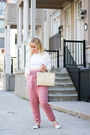 Bubble-gum-paper-bag-waist-free-people-pants-white-gentle-fawn-cardigan