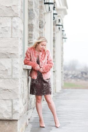 bubble gum faux fur sam edelman jacket - coral winners dress
