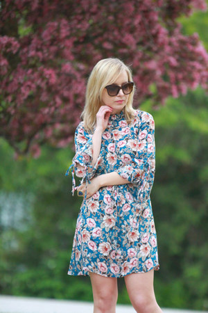 peony print Topshop dress - blush pink Lulus sandals