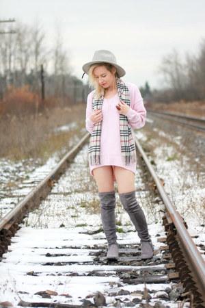 heather gray Aldo boots - light pink sweater dress Topshop dress
