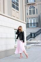 black biker Zara jacket - light pink pleated Saks Fifth avenue skirt