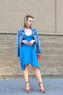 Asymmetrical-bebe-dress-denim-jacket-old-navy-jacket-coral-lulus-bag