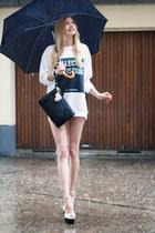 Zara sweater - clutch black Zara bag - Zara wedges - H&M bracelet