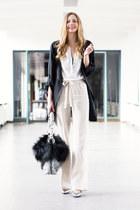 beige linen Zara pants - black parka H&M coat - black faux fur Lieb Ju bag