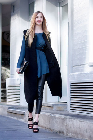clutch Zara bag - blue silk Zara blouse - black long vest Zara vest