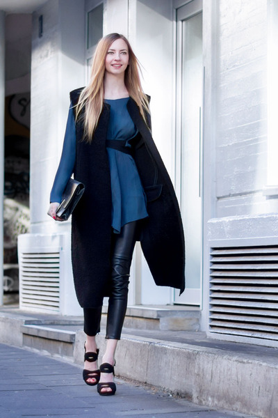 clutch Zara bag - blue silk Zara blouse - black long vest Zara vest