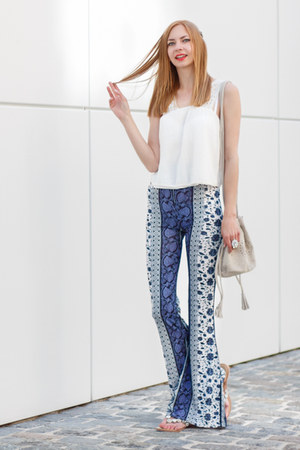 blue hippie Missguided pants - silver cut out Zara bag - white crochet Zara top