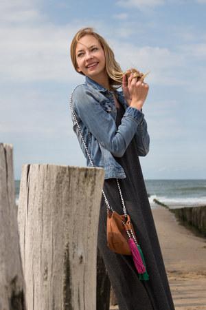 cozy maxi dress Zara dress - denim jacket H&M jacket - Zara bag