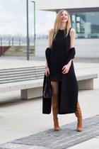 black black dress Sparkle & Fade dress - light brown knee-high boots Zara boots