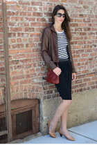 dark brown leather H&M jacket - brick red H&M bag - black kate spade sunglasses