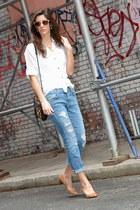 tan Steve Madden heels - light blue ripped Zara jeans