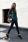 Forest-green-knit-zara-sweater-black-studded-topshop-boots
