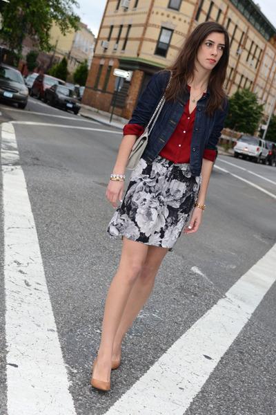 black silk Zara skirt - navy denim Levis jacket