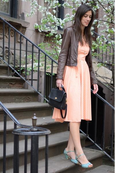 my mothers vintage dress - leather H&M jacket - vintage coach bag