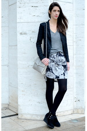 black Mia boots - black leopard print Forever 21 blazer