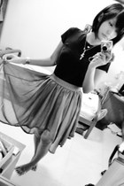 dark brown asymmetircal skirt - black cotton top - gold necklaces accessories