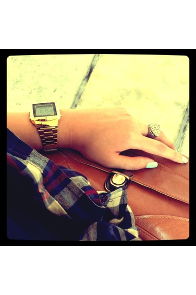 vintage random bag - checkered random shirt - vintage casio watch