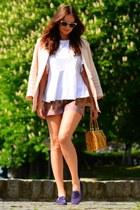 H&M jacket - richard chai shorts - Ray Ban sunglasses - white Zara blouse