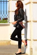 All Saints jacket - Levis jeans - Chanel bag - Alice & Olivia flats