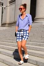 stripes H&M shirt - plaid cotton Marni shorts - Celine flats