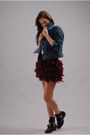 Balenciaga-boots-levis-jacket-stradivarius-skirt