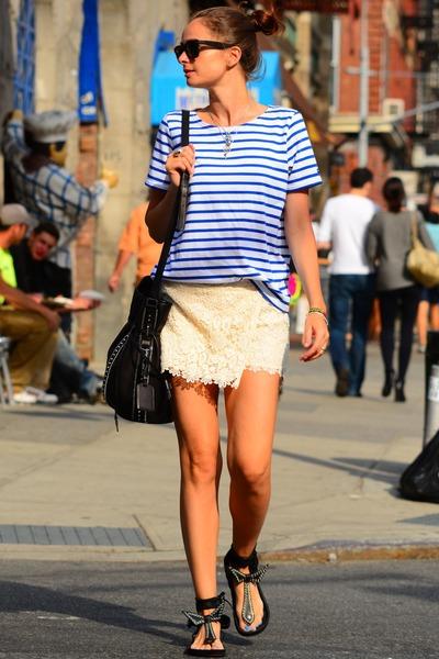 bucket bag Barbara Bui bag - lace Zara shorts - Saint James top