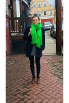 neon green vintage scarf - Rachel Comey boots - cashmere 31 Phillip Lim dress